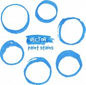 Blue marker paint vector circles set