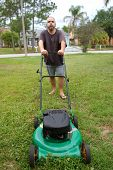 Lawn Mowing Man