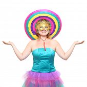 pic of zumba  - Pretty showgirl with golden mask and colorful sombrero dressed in luxury retro costume - JPG