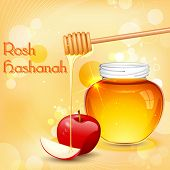foto of hebrew  - illustration of Rosh Hashanah background with honey on apple - JPG