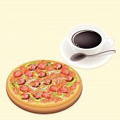 Delicious Deluxe Pizza On Dish With Hot Coffee