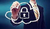 stock photo of security  - Secure Online Cloud Computing Concept with Business Man - JPG