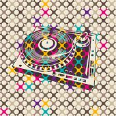 Colorful background with turntable. Vector illustration.