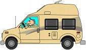 pic of camper-van  - This illustration depicts a man driving a class B camper van with an extended roof - JPG