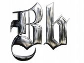 picture of letter b  - Metallic patterned letter of german gothic alphabet font - JPG