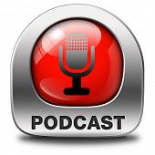 podcast listen audio music or audiobook live stream webcasting red icon or button