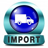 import blue icon international and worldwide or global trade on world economy market. importation an