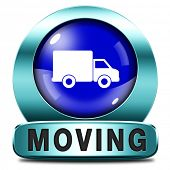 Moving or relocation blue icon a van or truck to relocate to other house or location a button or ico
