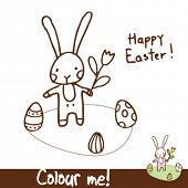 easter bunny - coloring illustration page cute design element