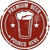 Premium Beer Poured Here Bar Menu Stamp