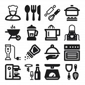Cooking Flat Icons. Black