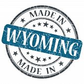 Made In Wyoming Blue Round Grunge Isolated Stamp