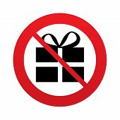 No Gift box sign icon. Present symbol.