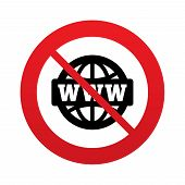 No WWW sign icon. World wide web symbol.
