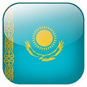Kazakhstan National Flag Square Button Isolated On White Background