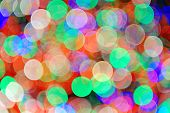 Holiday bokeh with beautiful colors from New York City Rockefeller Center Christmas tree.