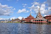 Buddhist monastery standing on stilts on the water, Inle Lake, Myanmar