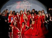 NEW YORK-FEB 6: Celebrities on runway at Go Red for Women - The Heart Truth Red Dress Collection fashion show during Mercedes-Benz Fashion Week at Lincoln Center on February 6, 2014 in New York City.