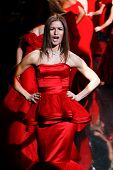 NEW YORK-FEB 6: Actress Jill Hennessy reacts on the runway at The Heart Truth Red Dress Collection s