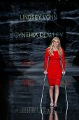 NEW YORK-FEB 6: Lindsey Vonn wears Cynthia Rowley on the runway at The Heart Truth Red Dress Collect