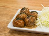 Japanese Snack Food, Takoyaki And Beef Close Up