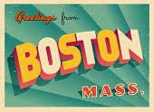 Vintage Touristic Greeting Card - Boston, Massachusetts - Vector EPS10. Grunge effects can be easily