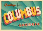 Vintage Touristic Greeting Card - Columbus, Georgia - Vector EPS10. Grunge effects can be easily removed for a brand new, clean sign.
