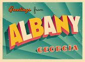 Vintage Touristic Greeting Card - Albany, Georgia - Vector EPS10. Grunge effects can be easily remov