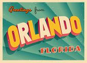 Vintage Touristic Greeting Card - Orlando, Florida - Vector EPS10. Grunge effects can be easily removed for a brand new, clean sign.