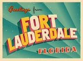 Vintage Touristic Greeting Card - Fort Lauderdale, Florida - Vector EPS10. Grunge effects can be eas