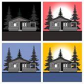 Landscape house theme vector