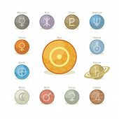 image of uranus  - Icons pack with symbols of major planets sun and moon - JPG