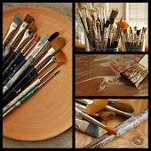Collage of artist's paintbrushes includes still life images of well used brushes in sunlit studio, brushes on hand thrown pottery tray, closeup of brush bristles, and a wet brush being used.