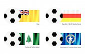 Football With Niue, Ossetia Alania, Norfolk And Northern Mariana Flag