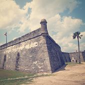 Castillo de San Marcos in St. Augustine, Florida, USA with retro effect