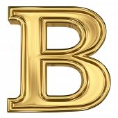 3d brushed golden letter - B. Isolated on white.