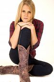 Female Model Wearing Cowboy Boots Hands On Knees