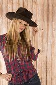 Attractive Female Cowgirl Model Wearing Felt Cowboy Hat