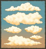 Vintage clouds. Retro sky vector background design set