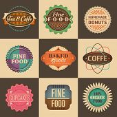 Set of vintage food labels. Vector illustration.