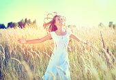 picture of wearing dress  - Beauty Girl Outdoors enjoying nature - JPG