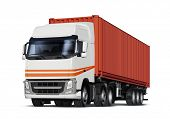 truck delivers freight in the form of container, isolated with path