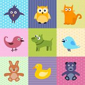 Colorful background for kids with cartoons of cute animals