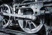 picture of piston-rod  - rusty wheels of old steam locomotive close up - JPG
