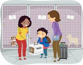 Illustration of a Little Boy and His Mom Handing Over a Dog in a Kennel
