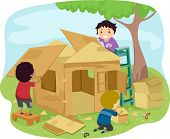 Illustration of Little Boys Building a Playhouse Made of Carton