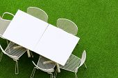 picture of lawn chair  - Outdoor chair and table on lawn - JPG