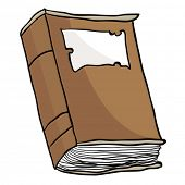 cartoon illustration of an old brown book