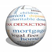 Tax Deductions 3D Sphere Word Cloud Concept