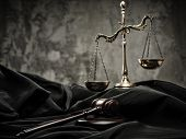 stock photo of tribunal  - Scales and wooden hammer on judge - JPG